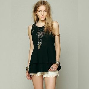 342 Free People Lace Inset Crochet Tunic Top S